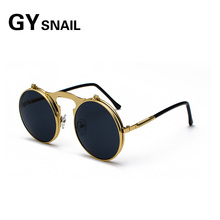 GYsnail New Metal Round Steampunk Sunglasses Women Men Square Double Flip Lens Cover Punk Sun Glasses Clear HD Gradient Shades