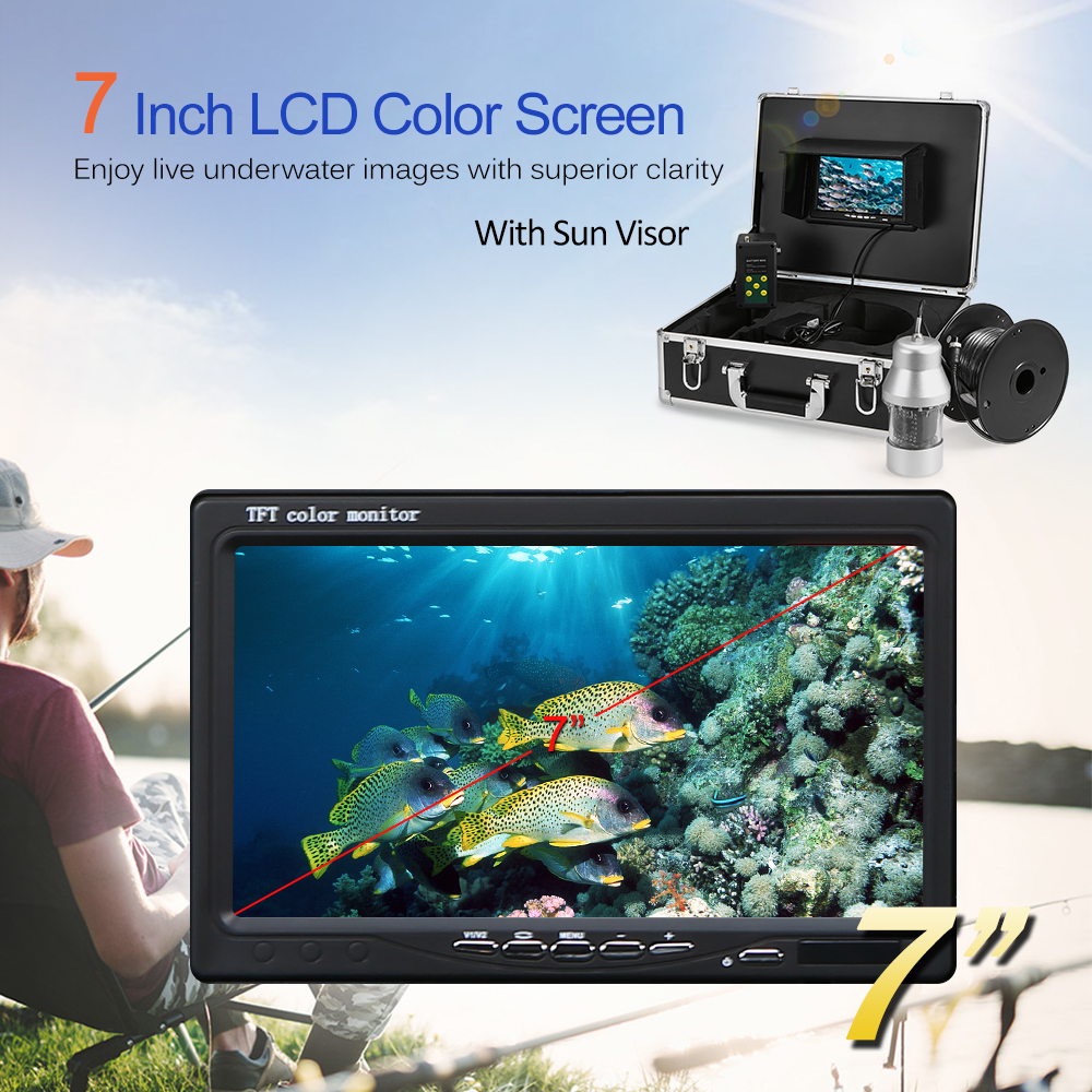 Fish Finder 1000TVL Underwater Ice Fishing Camera 360 degree rotating Camera 7 Inch LCD for Ice Lake Boat Fishing Deeper Monitor