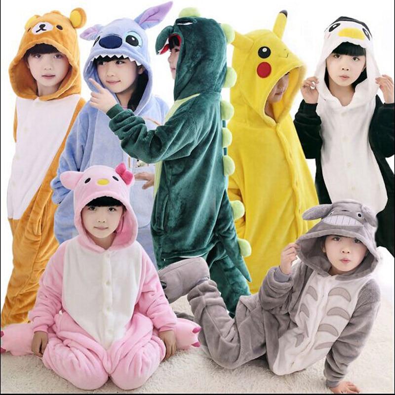 2017 New Baby Boys Girls Pajamas Autumn Winter Children Flannel Animal funny animal Stitch panda Pajamas