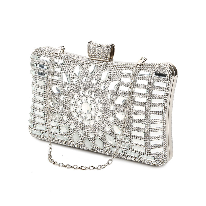 Silver Clutch Bag Women Crystal Evening Bags Luxury Design Wedding Purse Elegant Ladies Handbag Chain Crossbody Bag W641