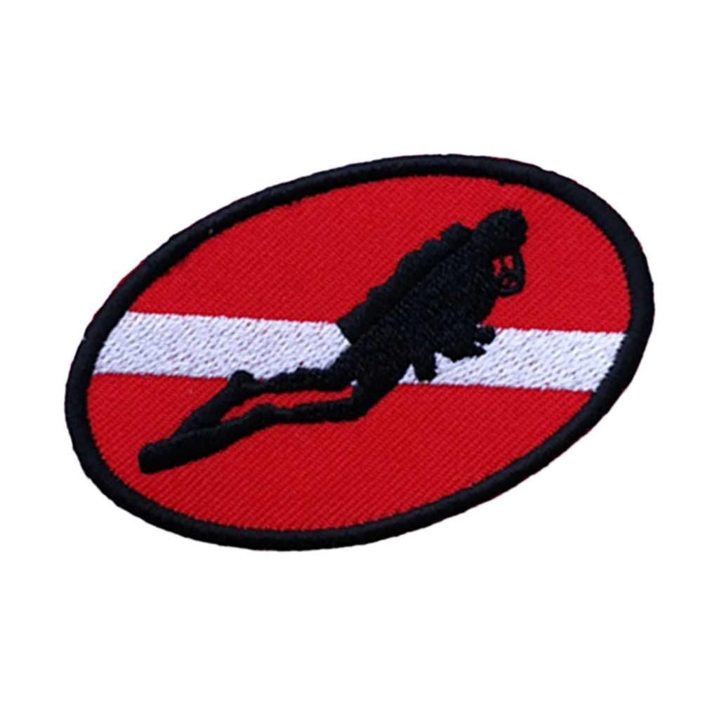 Işlemeli demir On dalgıç bayrağı yama amblemi hatıra sualtı tüplü dalış yüzme-elips Scrapbooking aksesuarları