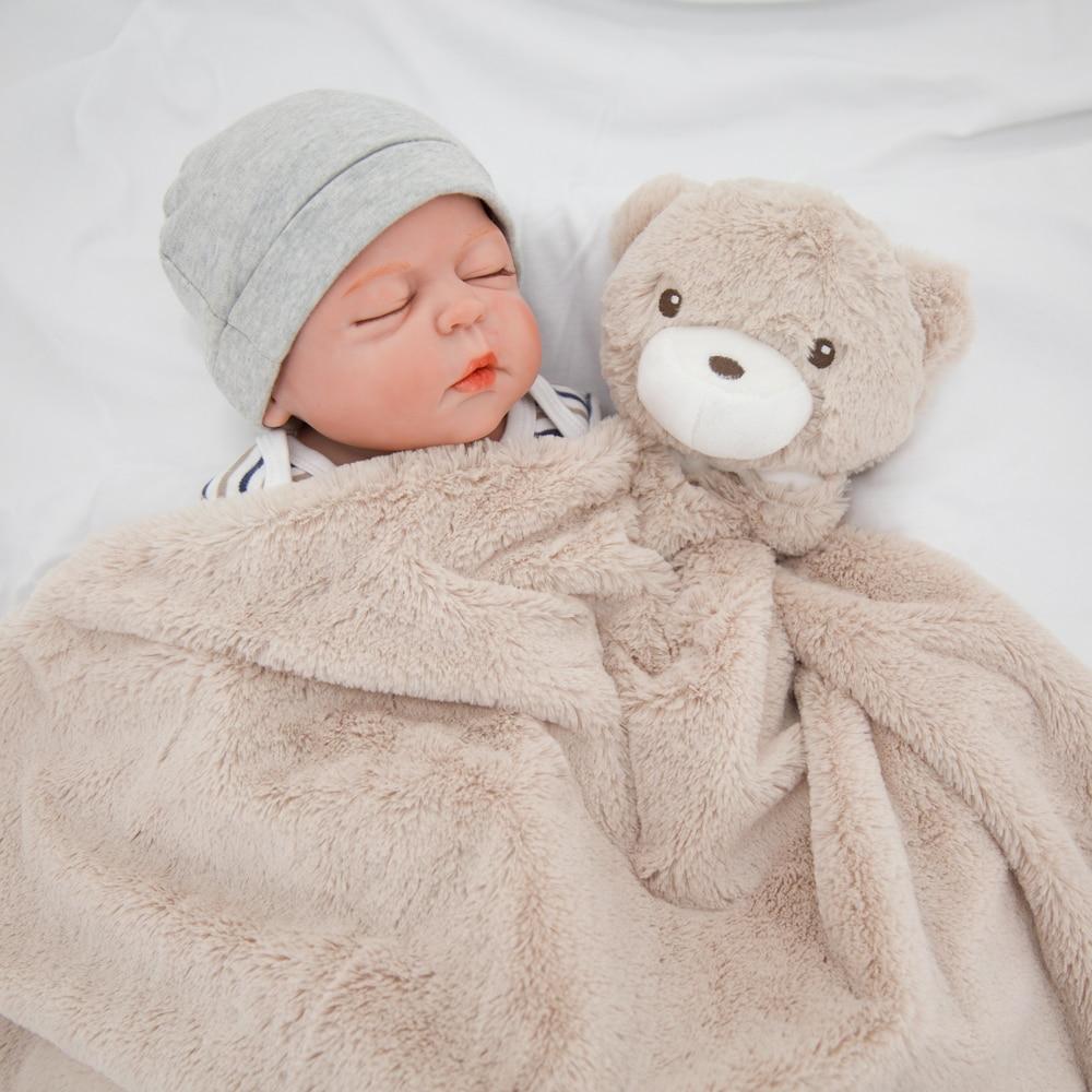Kavkas Baby Blanket 76*76cm Coral Fleece Winter Brown Bear Newborn Infantile Swaddle Blanket Flokati