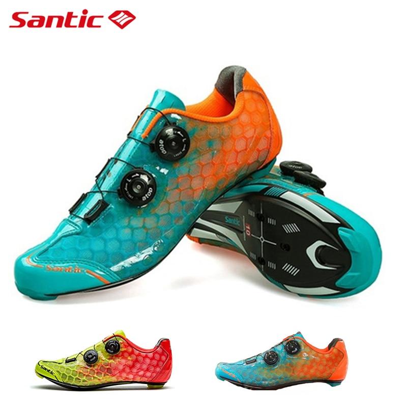SANTIC PRO ultra-léger en Fiber de carbone chaussures de cyclisme niveau 10 hommes vélo de route chaussures auto-bloquantes équipe de course chaussures de vélo 2019