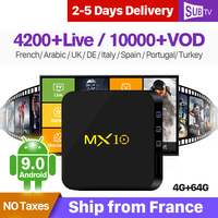 IPTV Full HD Live Arabic France IPTV Box 4K Subscription Italy MX10 Android 9.0 4G 64G RK3328 H.265 Decoder Portugal Turkish