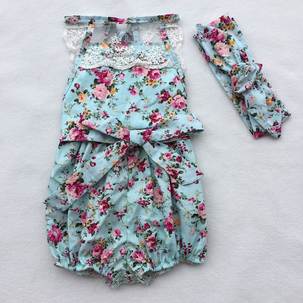 Rose Floral Printed Cotton Baby Rompers headband Vintage Baby Girl Romper outfit Lace Floral Overalls for Children Baby Clothes