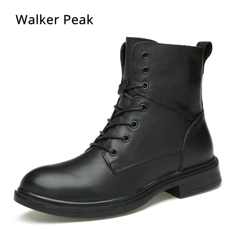 416de684c80459 Hiver Militaire Chaussures Black De Fur Chaude Hommes Fourrure Vintage  Black Boot Inside Combat Cuir cotton Vache En Bottes Moto Neige ...