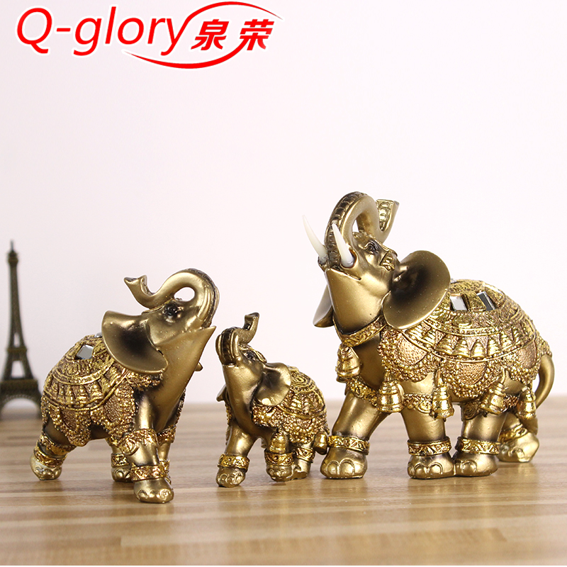 Q-glory Golden Elephant Figurines Statue Resin Lucky Elephant Garden Figures Home Decoration Accessories Gifts Скульптура
