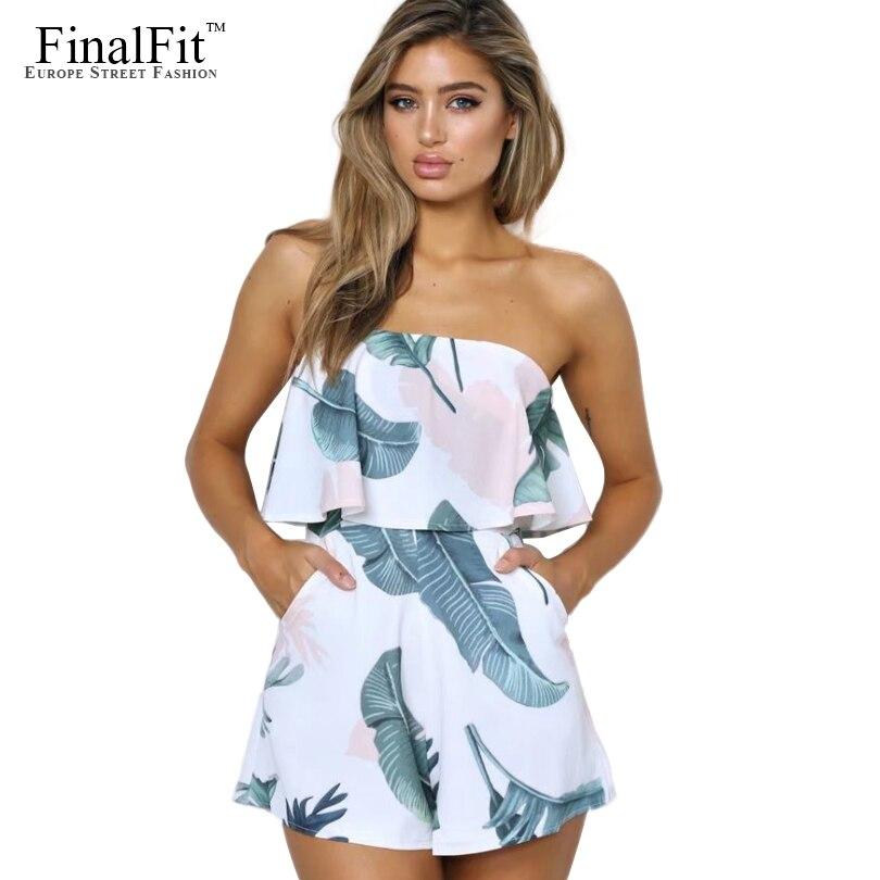 Finalfit Print Summer Jumpsuits Women , Short Sexy Rompers -2562