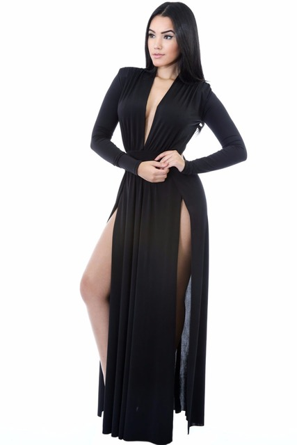 Black Super Classy Long Sleeves Double Slit Long Maxi Dress 2017 Deep  V Neck Ladies