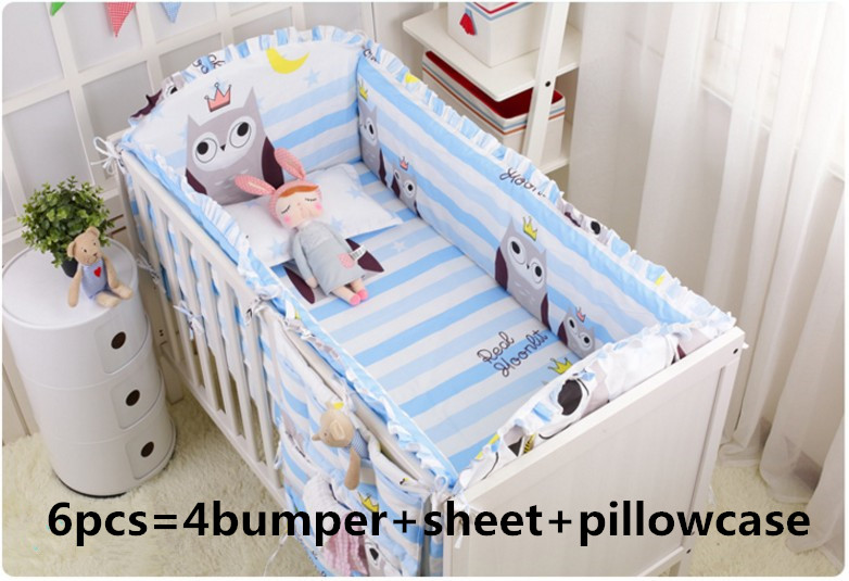 Promotion! 6pcs Owl baby crib bedding set newborn cot bed sets baby bumper for infant ,(4bumper+sheet+pillow cover) promotion 6pcs cartoon baby crib bedding set infant bedding set to crib for newborn baby include bumper sheet pillow cover