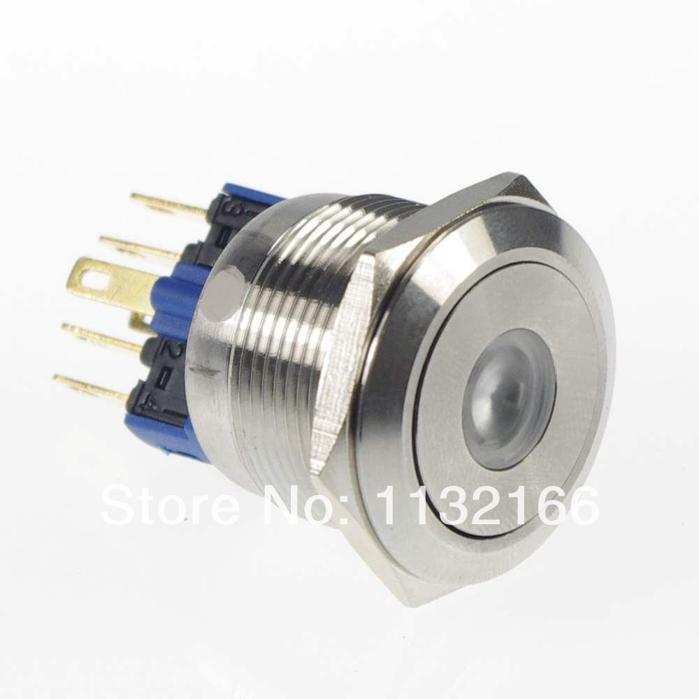 22mm LED Color White  Dot Illuminated Maintained/Latching Push Button Switch Flat Round 1NO 1NC  3V/6V/12V/24V/36V/48V
