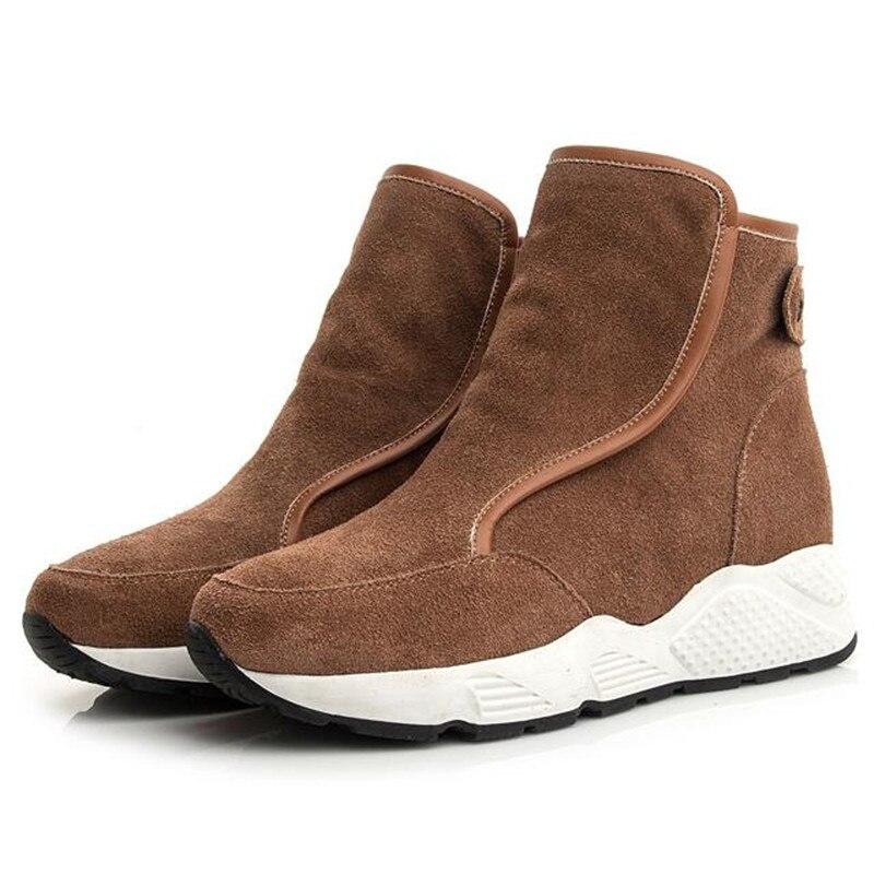 abed1776d79 brown Tobillo 2018 Vaca Fondo Moda Sneaker Grueso Invierno Comodidad Negro  Caliente Mate Zapatos Nieve Casual Mujer De Botas Nuevo rrUaxB