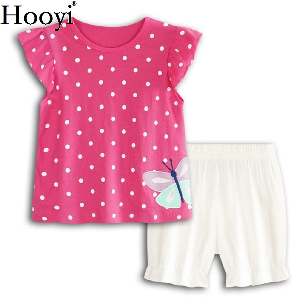 Hot Pink Baby Girl Clothes Suit Dot Butterfly Newborn Clothing Sets Girl T-Shirt Jumpers Shorts Pants Summer Outfits 100% Cotton
