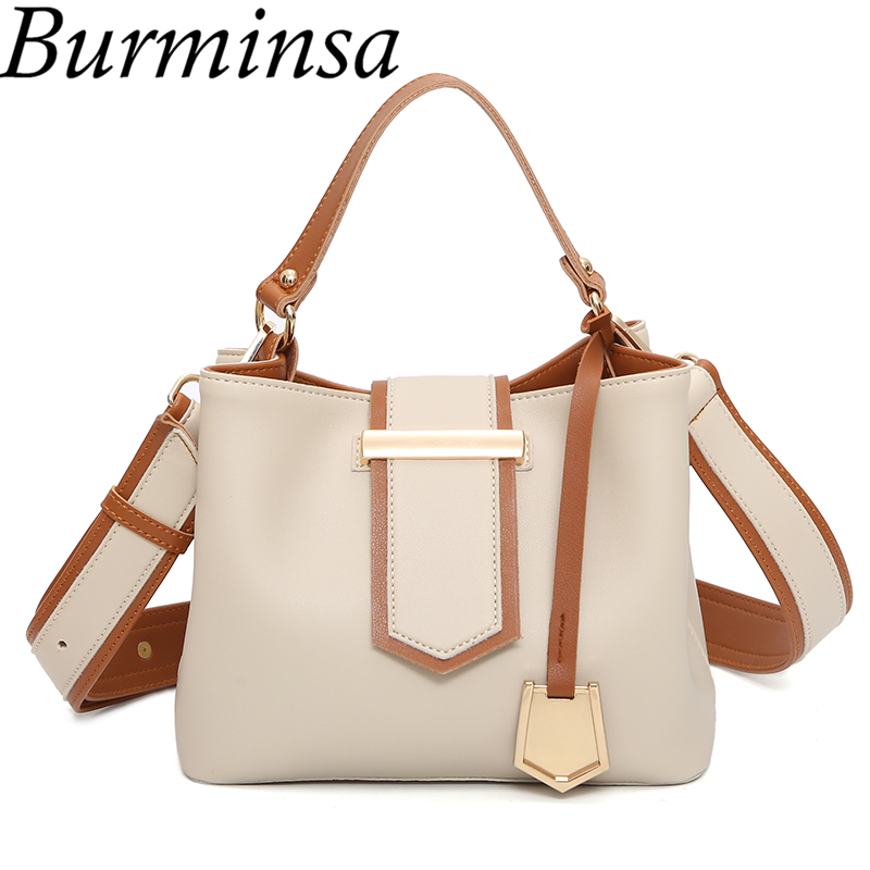 20157a43c47 Burminsa Wide Strap Bucket Bags Small Tote Shoulder Bags Designer Handbag  High Quality PU Leather Crossbody Bags For Women 2018