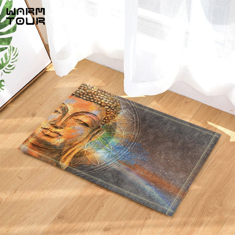 Warm Tour Watercolor Head of Lord Buddha Door Mat Home Decor ...