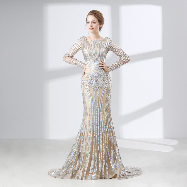 Backlackgirl Long Sleeves Evening Dress 2018 Mermaid Sequin Muslim ...