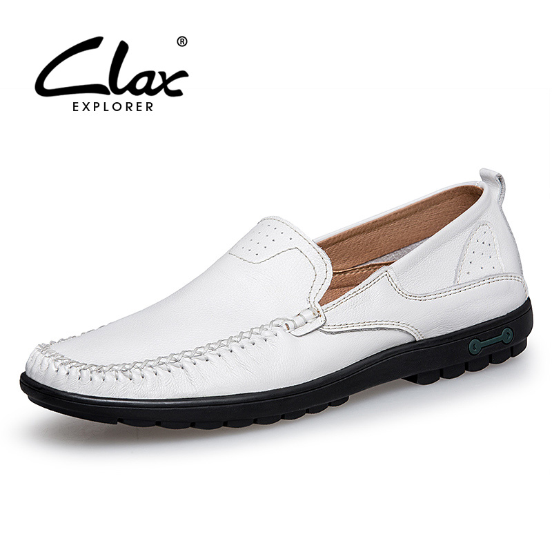Clax Men Leather Shoes 2018 Spring Summer Black White Casual Loafers Male Genuine Leather Flats Driving Shoe Leisure Footwear ifrich spring summer men leather fashion shoes black white male flat split leather shoes comfortable man casual footwear