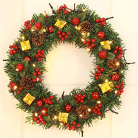 Christmas Door Ornament Large Wreath With Bells Wall Decor Festive Red Bowknot Garland Decoration 40cm Drop