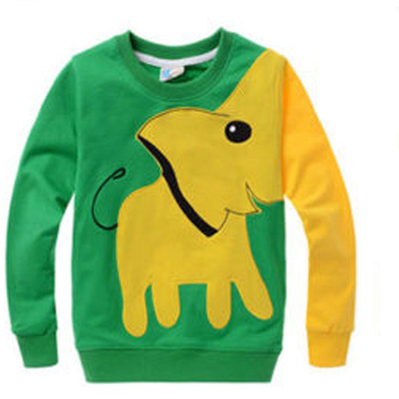 Fashion Kids Boys Long Sleeve Tops Block Green Elephant
