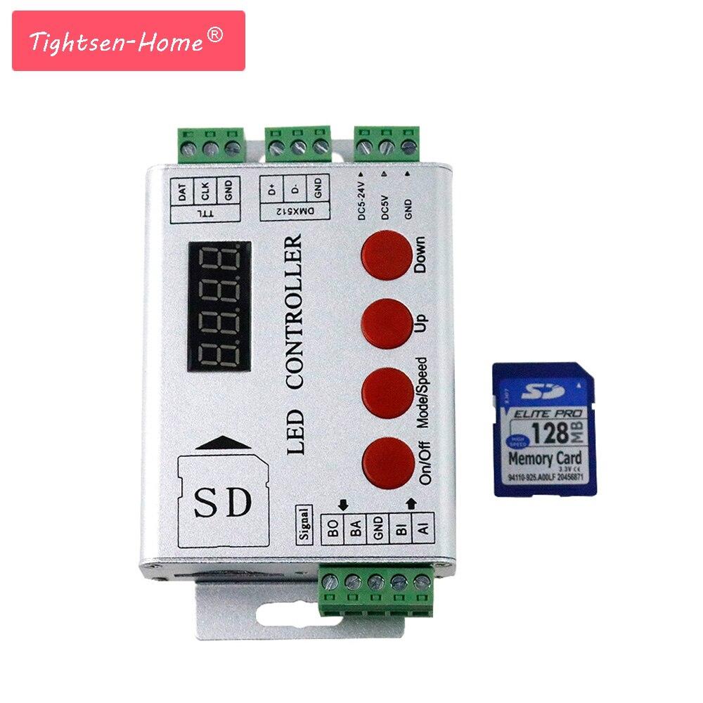Led Pixel Controller SD Card Programmes 2048pixels Controller Dmx Console TM1809 WS2811 Ws2801 LPD8806 WS2812 DMX Led Strip 5-24