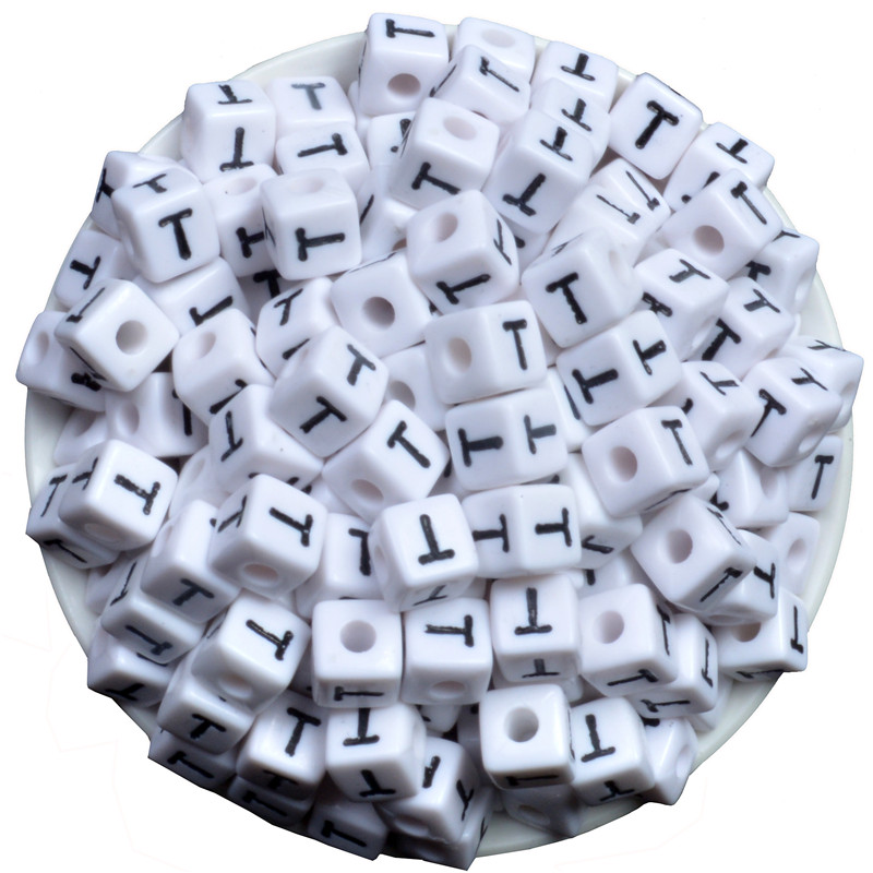 Jewelry & Accessories Different Alphabet White 50pc Size Of 10x10mm Beads Acrylic Letters Children Education Montessori Diy Plastic Beads Intelligence