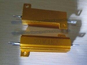 Image 5 - 50 ชิ้น/ล็อต 50 วัตต์ Metal Shell อลูมิเนียมทองตัวต้านทาน RX24 50 W 1R 2R 3R 4R 5R 6R 8R 10R 15R 50R 100R 220R 1 K OHM