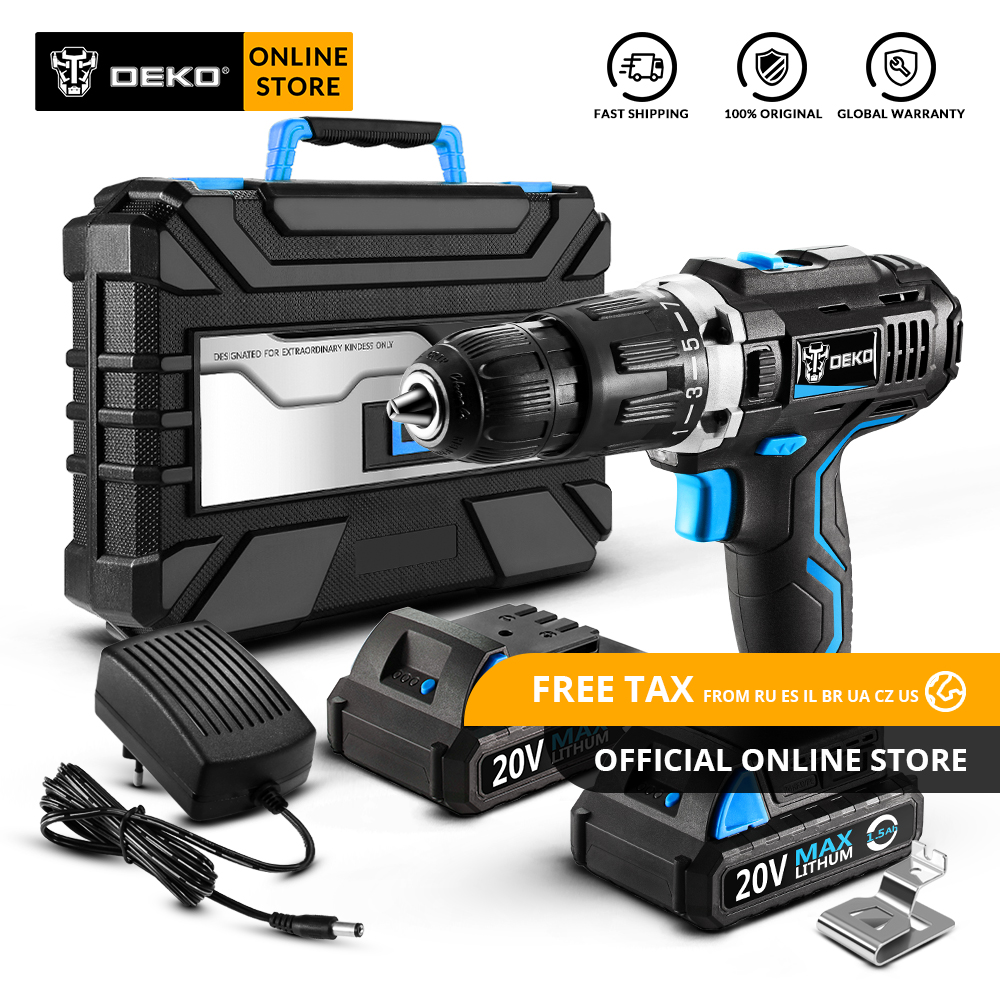 Original DEKO GCD20DU3 20V MAX Impact Cordless Drill Electric Screwdriver Lithium Ion Power Driver Variable Speed 2 Battery Box