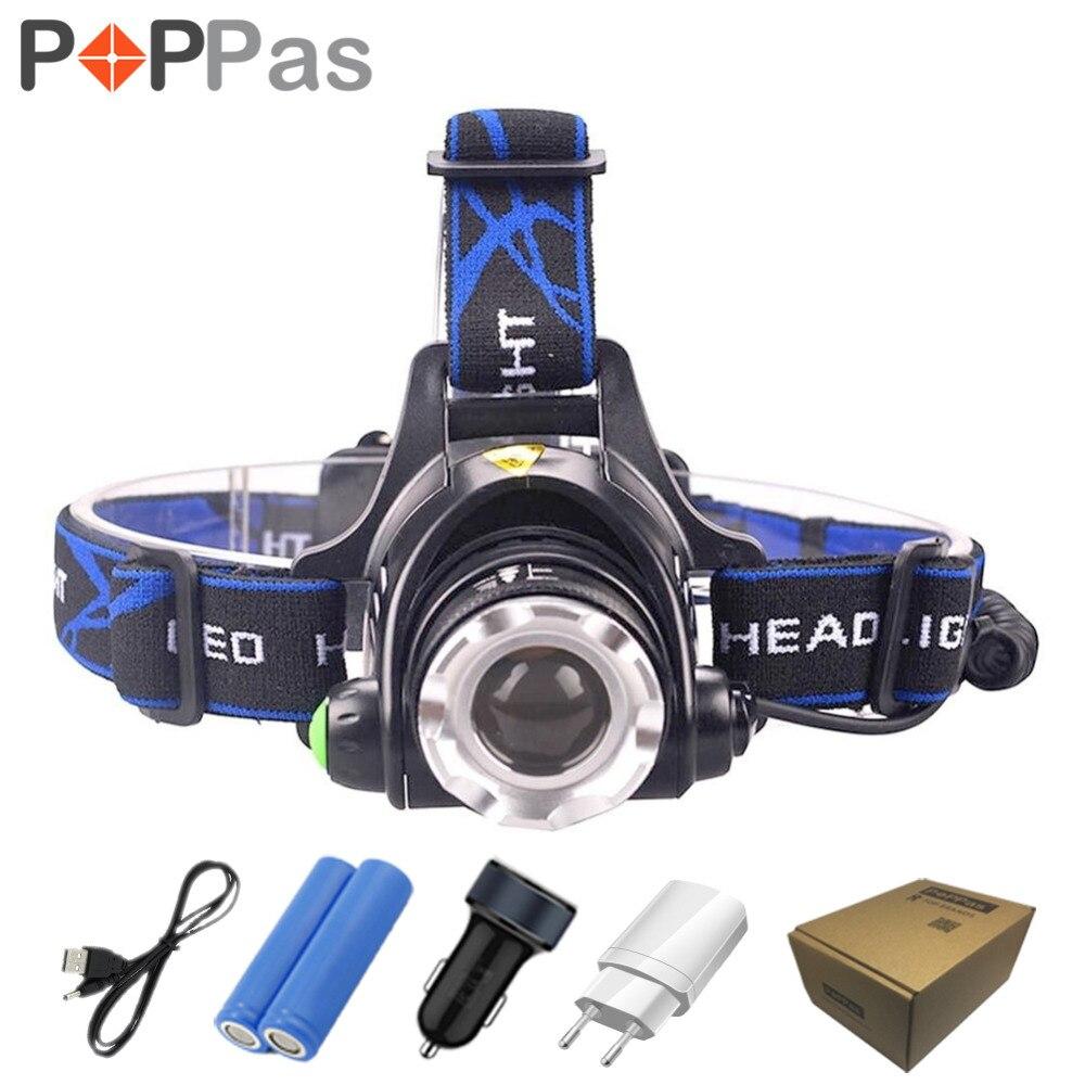POPPAS <font><b>LED</b></font> CREE XM-L T6 L2 Chips Headlight Headlamp Rechargeable Zoom Light Lamp 2x18650 Battery+Car Charger Flashlight Camping