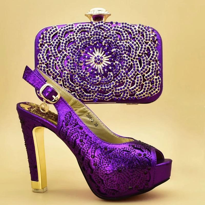 Chaussures De Femmes Hauts Mode Ensemble purple Correspondant or Italie Élégant Italien Chaussure Sac Avec Talons Et Strass Pompes red Bleu Décoré xw1qBZpg
