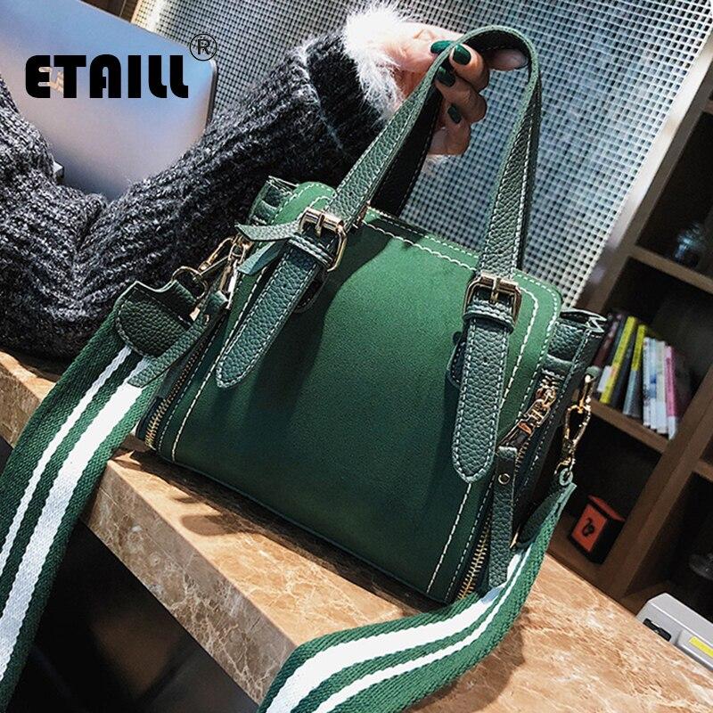 ETAILL Boston Bag Women Pillow Handbag Ladies High Quality PU Leather Wide Strap Bags Design Top Handle Messenger Shoulder Bags