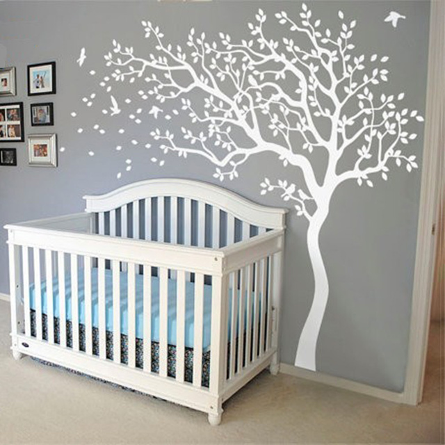 New Huge White Tree Wall Decal Nursery And Birds Art Baby Kids Room