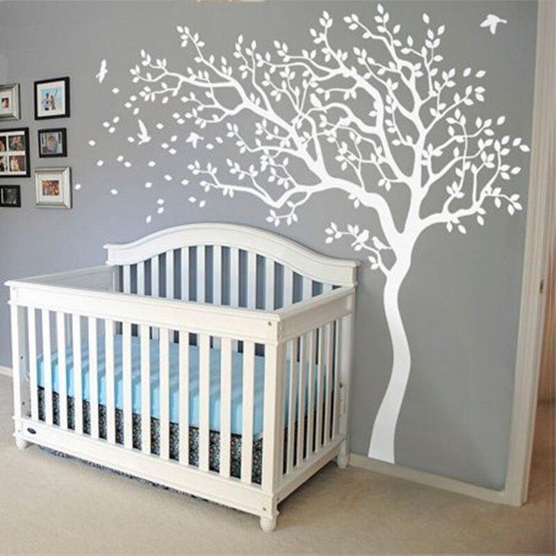 Nouveau énorme arbre blanc mur décalcomanie pépinière arbre et oiseaux mur Art bébé enfants chambre mur autocollant Nature mur décor 213X210 CM