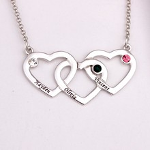 Intertwined Hearts Pendant Necklace with Birthstones 2016 Personality Birthstone Necklaces Custom Made Any Name YP2499