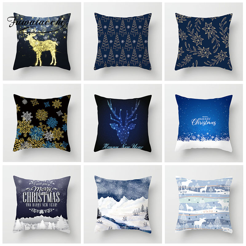 Fuwatacchi Christmas Cushion Cover Snow Scene Snowman Snowflake Pillow Cover For Home Sofa Car Decorative Blue Pillowcase image