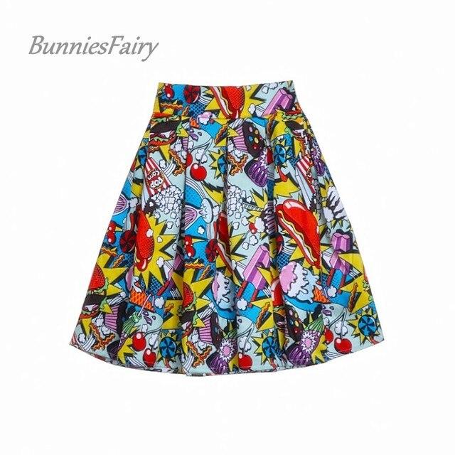 BunniesFairy 2018 Women Streetwear Fashion Hot Dog Ice Cream Hamburger Print High Waist Mini Skater Skirt Casual Faldas Cortas