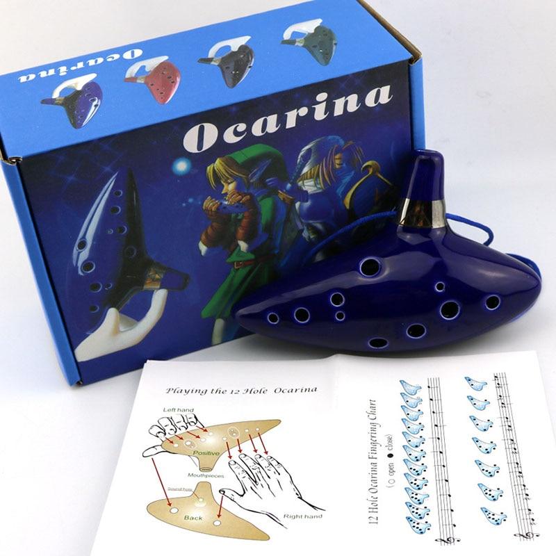 Legend of Zelda 12 fori di Ocarina of Time di link flauto COSPLAY BLU