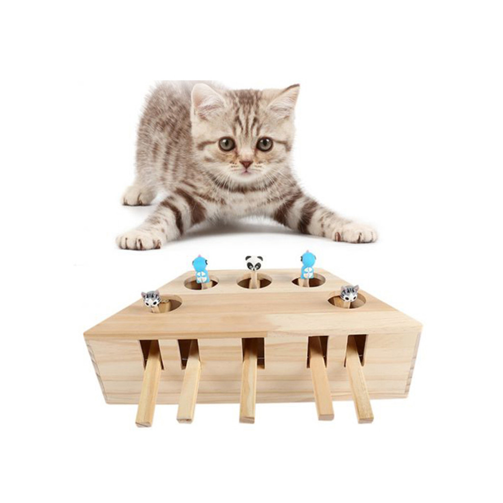 2019 New Pet Indoor Solid Wooden Cat Hunt Toy Interactive 3/5-holed Mouse Seat Scratch #NN610