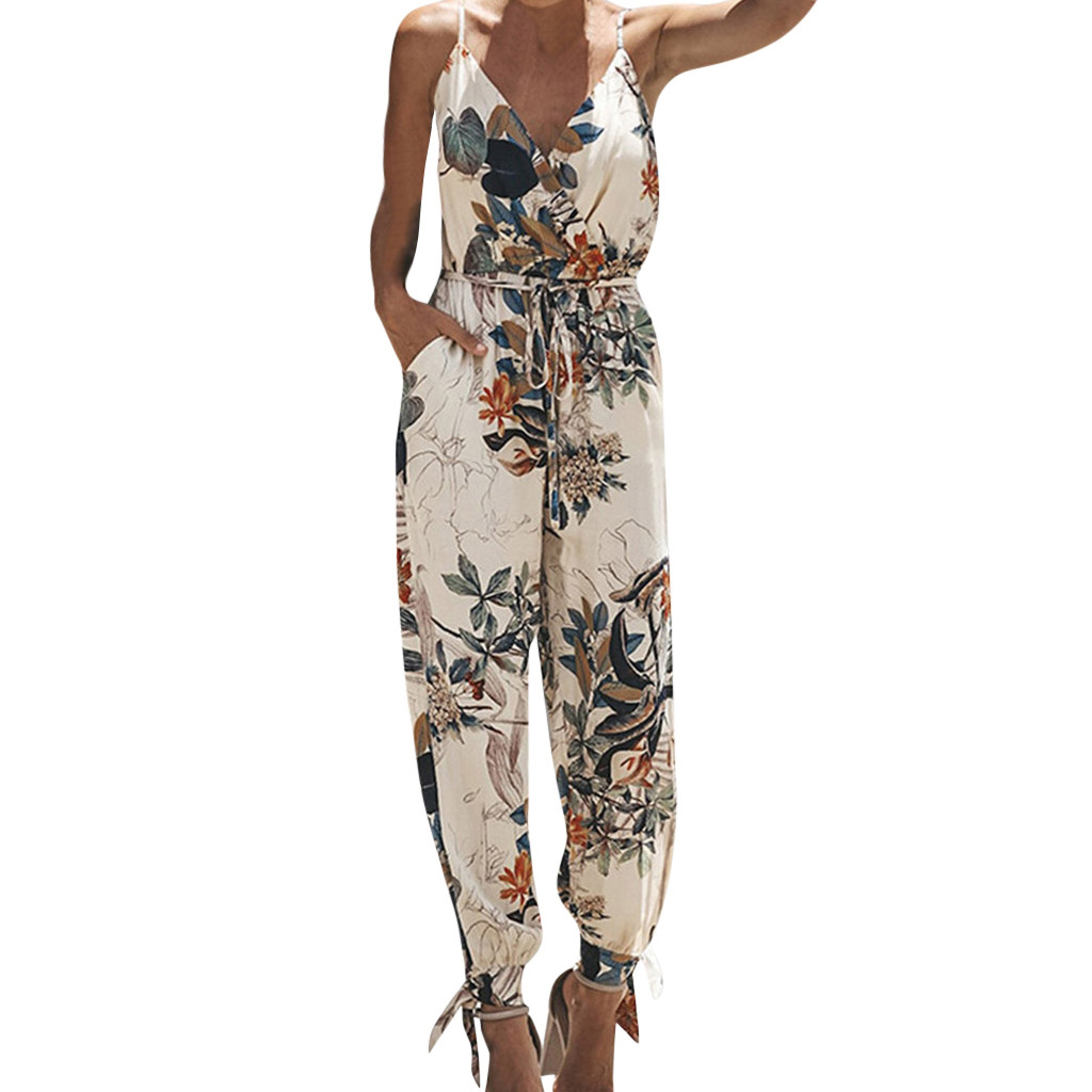 2019 Summer   Jumpsuits   For Women Elegantes Casual Sleeveless V-neck Strap Lace Up   Jumpsuit   De Fiesta Mujer Long Rompers Plus Size