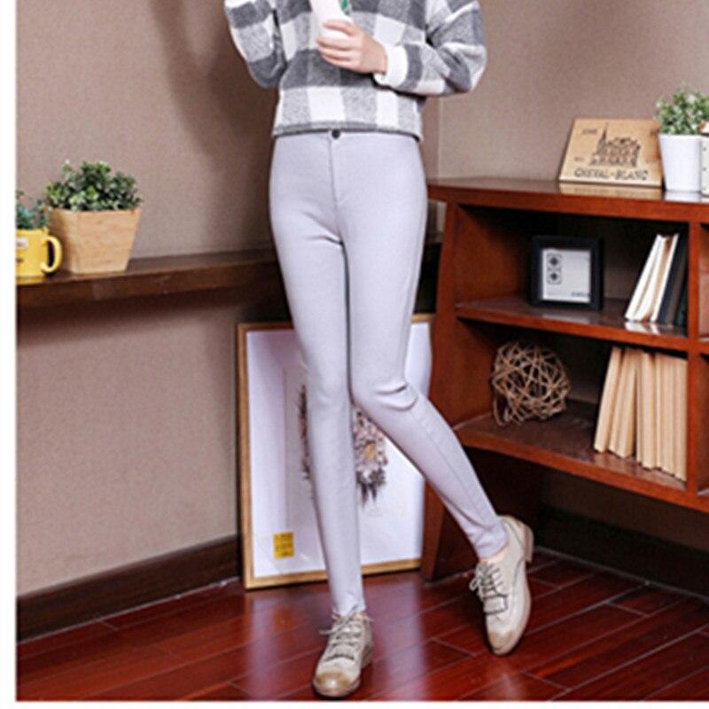 2018 printemps automne mince enduit pantalon en cuir artificiel femme slim Leggings porter jeans femmes jambières d'exercices - 4
