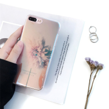 Blossom Flower Soft Clear TPU Case for iPhone 7 7 plus Luxo Cover Fundas for iPhone 6s 6 Plus Blue-ray Elegant Phone Case