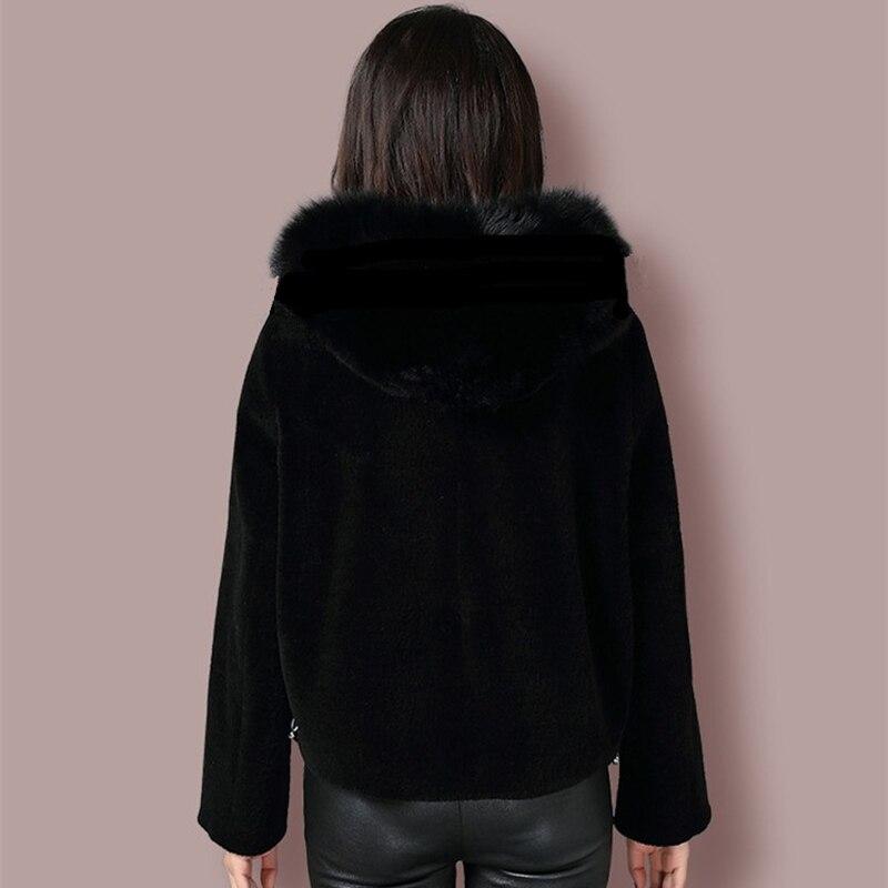 À Laine Cheveux Glissière Manteau Cuir Fourrure Black Capuche Mouton Renard Femme Courte Pardessus Naturel Attacher De Sweat En Veste Cisaillement F87wg4nqA
