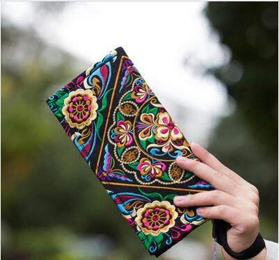 Hot Price-promotion Newest Embroidered Wallet Purse Handmade Ethnic Flowers Embroidery Women Long Wallet Day Clutch HandBag