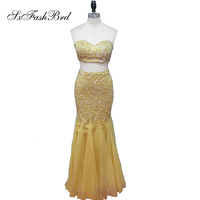 Robe De Soiree Longue Sweetheart Shiny Beading Crop Top Mermaid 2 Two Pieces Long Party Prom Dresses for Girls