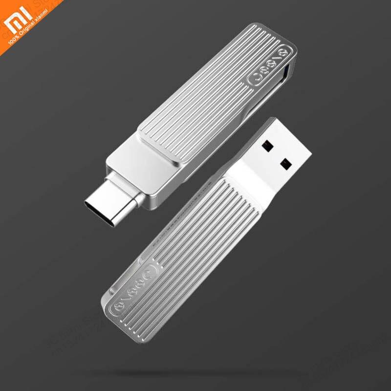Original xiaomi mijia Type-C USB dual interface mobile phone U disk 120MB / SM1 360 rotating aluminum alloy material smart APP