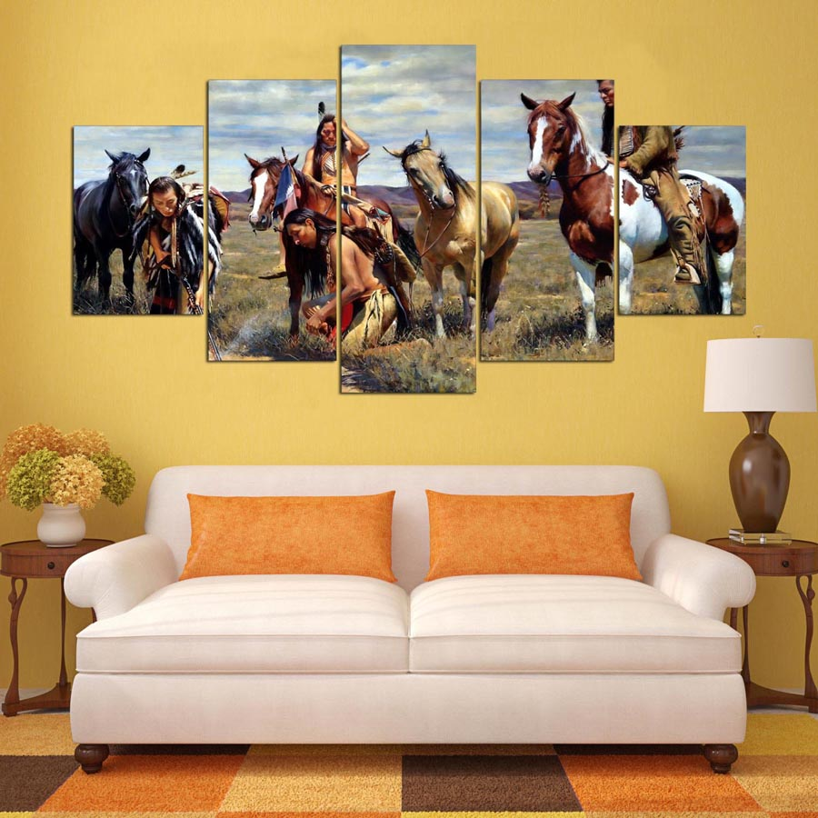 5 Panel American Native Tribes Indian Painting Canvas Wall Art ...