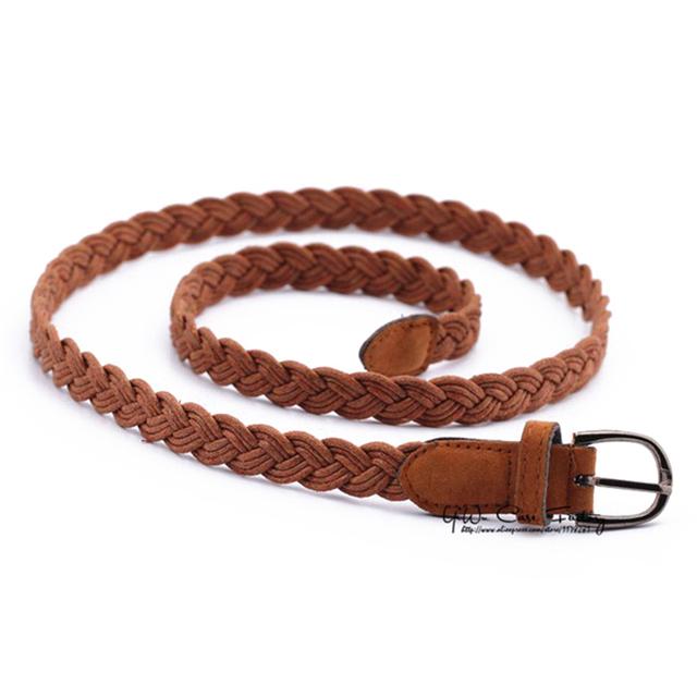 Women belt Handwork Braid Polyester Leather Belt Metal Buckle
