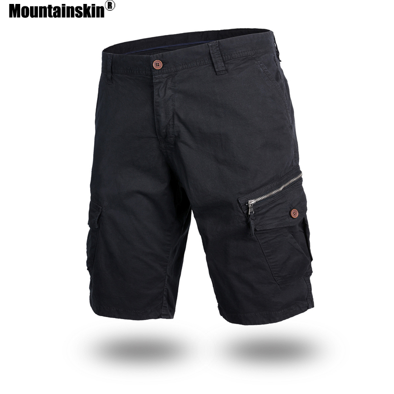 Mountainskin Men's Summer Shorts Cotton Solid Casual Tooling Shorts Male Loose Overalls Multi-Pocket Mens Brand Clothing SA667