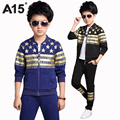 A15 Cool Kids Clothes Boy Toddler Boys Clothing Set Big Boy Clothes Set 2017 Spring Jacket Pants 2 pc Sportswear 6 10 12 14 Year