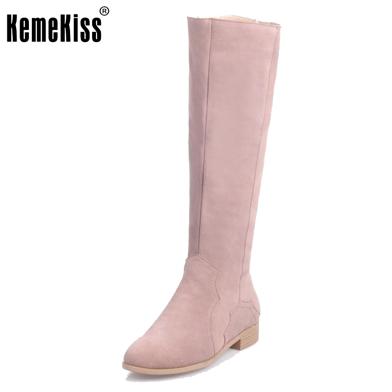 Women Real Genuine Leather Knee Boots Woman Flat Zipper Botas Feminine Winter Fur Warm Footwear Shoes Size 34-39 woman real leather boots 2015 new winter boots black apricot zipper fashion martin boots 34 39 comfortable women knee high boots