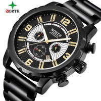 NORTH Luxury Top Brand New Stainless Steel Business Men Watch Fashion Casual Military Chronograph Quartz Watch Relogio Masculino